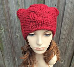 aaca49aa487 Red Knit Hat Red Womens Hat - Cranberry Red Cable Cat Beanie - Red Hat Red