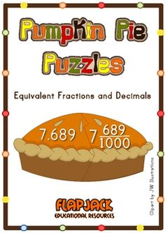 Pumpkin Pie Decimal Fraction Puzzles - FREE! Great for Thanksgiving math centers.