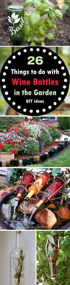 DIY Wine Bottle Ideas for Garden                                                                                                                                                     More