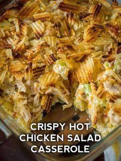 Hot Chicken Salads, Chicken Recipes, Cooked Chicken, Crispy Chicken, Lemon Chicken, Casserole Dishes, Casserole Recipes, Chicken Casserole, Lunches