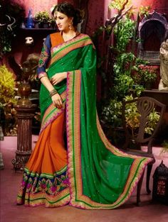 Orange And Green Georgette Saree With Zari And Resham Embroidery Work