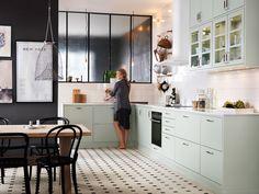 Kitchen Grey Green Apartment Therapy 61 Ideas For 2019 Kitchen Interior, Grey Kitchens, Scandinavian Kitchen, Kitchen Remodel, Kitchen Dining Room, Mint Kitchen, Home Kitchens, Apartment Kitchen, Kitchen Design