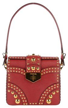 225843d121f8 Prada Saffiano Sound Studded Hobo Rosso Cross Body Bag on Sale