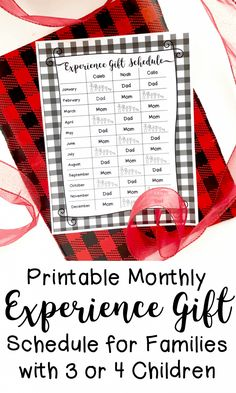 Printable Monthly Experience Gift Schedule for Families with 3 or 4 Children Meaningful Christmas Gifts, Christmas Crafts For Kids, Christmas Ideas, Caleb, Adventure Gifts, Thank You Card Template, Multiplication For Kids, Gift Of Time, Experience Gifts