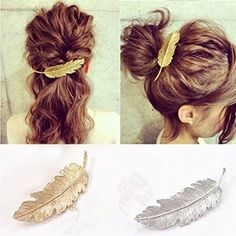 Vouge Women Leaf Feather Hair Clip Hairpin Barrette Bobby Pins Hair Accessory in Clothing, Shoes & Accessories, Women's Accessories, Hair Accessories Bobby Pin Hairstyles, Vintage Hairstyles, Girl Hairstyles, Wedding Hairstyles, Fashion Hairstyles, Hair Tiara, Hair Comb, Punk Women, Feather Hair Clips