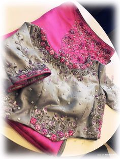 Grey designer floral design hand zardosi work Designer wedding saree lehenga blouses To inquire whatsapp 918888328116 or ethnicdiagmailcom Pattu Saree Blouse Designs, Fancy Blouse Designs, Bridal Blouse Designs, Choli Designs, Jute, Stylish Blouse Design, Designer Blouse Patterns, Chiffon, Work Blouse