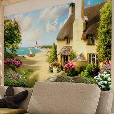 Papier Paint Vinyle: La maison de plage #papierpeint #vinyle #mur #décoration #deco #WebStickersMuraux