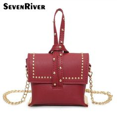 New Fashion Lady Rivet Leather Handbag Gilr Shoulder Messenger Bag Mini Street Crossbody Flap Bags For Young