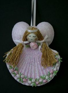 Craft ideas for adults to sell pecten ribbon angel for Seashell crafts for adults