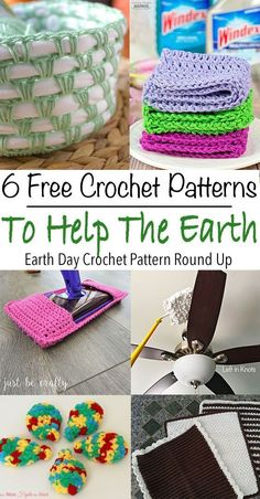 Celebrate Earth Day this year with these quick and easy free crochet patterns. These patterns will help you recycle, reuse and reduce in your home. Crochet reusable swifter dusters and wet jet refills. Make baskets with your old t-shirts. Crochet Kitchen, Crochet Home, Free Crochet, Knit Crochet, Quick Crochet Gifts, Beginner Crochet Projects, Crochet Patterns For Beginners, Easy Crochet Patterns, Crochet Tutorials