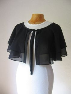Black Cape Black Capelet Dress Cover Up Bridal Cape Bridal Capelet Wedding Cape Shoulder Wrap Wedding Cape, Bridal Cape, Capelet Dress, Black Cape, Bridal Cover Up, Designs For Dresses, Grunge Style, Saree Blouse Designs, Fashion Tips For Women