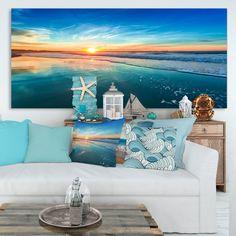 Shop Indian Ocean Panoramic View - Extra Large Seashore Canvas Art - On Sale - Overstock - 12211848 - 60 in. wide x 28 in. Seascape Art, Abstract Canvas Art, Canvas Art Prints, Canvas Wall Art, Coastal Living, Coastal Decor, Coastal Wall Art, Am Meer, Beach House Decor