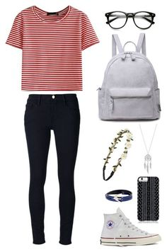 Striped Top, Black Jeans and Converse Shoes via