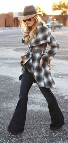 fedora + plaid trench + flared denim