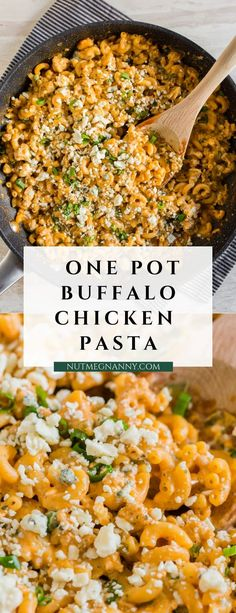 Low Unwanted Fat Cooking For Weightloss This One Pot Buffalo Chicken Pasta Is Packed Full Of Flavor And Made In Just One Pot, Or Skillet. It Only Uses A Few Simple Ingredients And Is Ready In Just 30 Minutes. Trust Me, You'll Love This Simple Supper. Best Pasta Recipes, Fun Easy Recipes, Supper Recipes, Delicious Dinner Recipes, Easy Meals, Cooking Recipes, Healthy Recipes, Chicken Recipes, Yummy Food