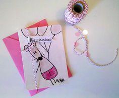 """Carte design """"la souris aux ballons"""" avec son tag """"félicitations"""" liés par une jolie ficelle de bakertwine rose et blanche via [by] lfdp. Click on the image to see more!"""