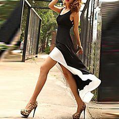 Dışarı+Çıkma+Seksi+Elbise+Zıt+Renkli,Kolsuz+Askılı+/+Derin+U+Diz+üstü+/+Asimetrik+Siyah+Polyester+Yaz+Mikro-Esnek+Orta+–+USD+$+9.99