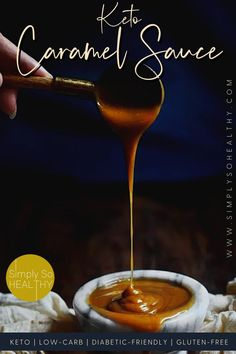 This Keto Caramel Sauce recipe is perfect over ice-cream, cake, or in your favorite low-carb recipe. 😋🍯❤️ #lowcarb #keto #Atkins #Bantingdiets Sugar Free Desserts, Sugar Free Recipes, Low Carb Desserts, Low Carb Recipes, Sweet Recipes, Keto Sauces, Low Carb Sauces, Keto Dessert Easy, Dessert Recipes