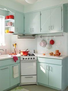 cute retro kitchen design in soft robins egg blues!