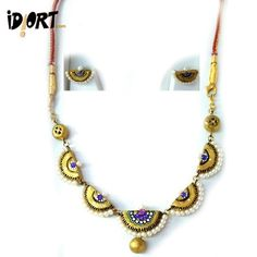 Handmade Terracotta Necklace & Earring Set. Truly A Masterpiece.  First Order Discount Of 10%. Available On http://www.idiort.com/terracotta-necklace-set-handmade-neckpiece-exclusive-at-lowest-prices-womens-fashion-jewellery/para-n-par-03