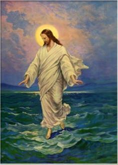 Christ Walks on the Water. Christian posters and prints.