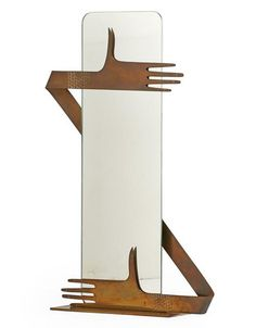 Franz Hagenauer; Plated Brass and Glass Table Mirror for Hagenauer Werkstätte, 1930s.