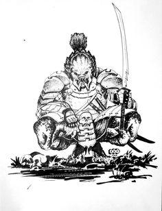Samurai Predator by acarabet on DeviantArt Wolf Predator, Predator Movie, Predator Alien, Aliens, Comic Frame, Tribal Warrior, Drawing Wallpaper, Xenomorph, Comics