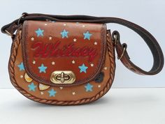 RARE Personalized Hand Painted Mickey Mouse Shoulder Bag Vintage Saddle Bag #Handmade #ShoulderBag #RARE #Personalized #HandPainted #Mickey #MickeyMouse #Bag #Vintage #SaddleBag #Leather #FlapBag #Purse #HandTooled #Minnie #TurnLock #BestFriend