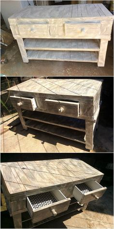 Elegantly and much cleanly designed wood pallet table design is part of this image. You will view that it is being overall finished with the arrangement of the drawers slats settlement you will carry out this table design to be favorable artistic and mind-blowing looking in first appearance.