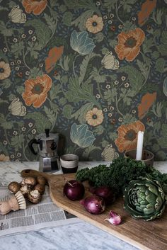 Anemone Wallpaper from the Apelviken Collection by Midbec Wallpapers is a dark floral wallpaper with orange flowers and green and blue leaves. Wallpaper Decor, Wallpaper Samples, Flower Wallpaper, Pattern Wallpaper, Wallpaper Backgrounds, Wallpaper Ideas, Floral Wallpapers, Large Floral Wallpaper, Antique Wallpaper