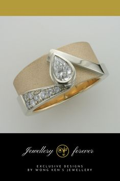 A bezel set pear shaped diamond uniquely set on a beautiful gold band.  #diamonds #rings #luxury #jewelleryforever
