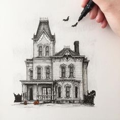Victorian House. Urban Sketcher Architectural Building Drawings. By Phoebe Atkey.