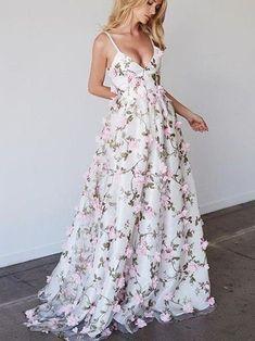 Spaghetti Straps Floral Lace Long Prom Dress Evening Dresses,ED210016