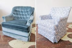 Haven't we all seen a chair like the one on the left at a thrift store?  Just think of the transformation possible.