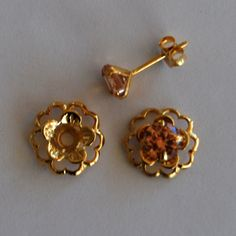 Champange Gold Post Earring Set - Includes Champange Cubic Zirconia Posts and Gold Flower Style Earring Jacket by EarringConvertiblez, $10.00