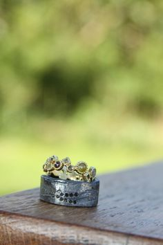 A beautifully unconventional set of wedding rings by Todd Reed.