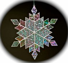 stained glass snowflake suncatcher  design 11 by bitsandglassart, $30.00
