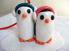 Penguin Family Ornament,  Family of Two Polymer Clay Christmas Ornament
