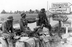 German motorcyclists during Operation Barbarossa, invasion of Russia, 1941.