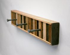 3 Hook Coat Rack Recycled Wood Chonko Style by SixFingerStudios, $55.00