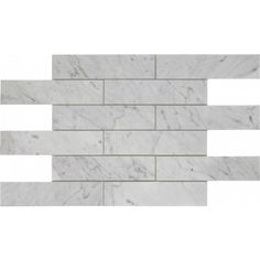 2×8 Italian White Carrera Brick Pattern Polished Mosaic Tile. #Italian_White_Carrera #Polished_Mosaic_Tile