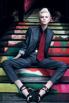 fall trends for women - borrowed from the boys - if only she weren't wearing those shoes...
