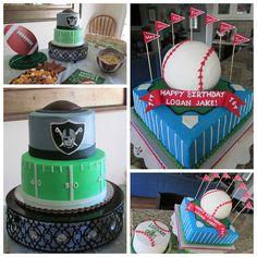 Football and Baseball cakes, Raiders Cake