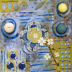 Blue and Yellow 3 Floral Mixed Media Art Print by redlinereno, $25.00