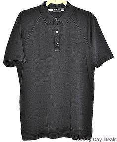 Bobby Jones Mens Golf Polo Cotton Shirt Players Short Sleeve Solid Black S  #BobbyJones #PoloRugby