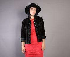 80s Cropped SUEDE JACKET / Black Leather by luckyvintageseattle
