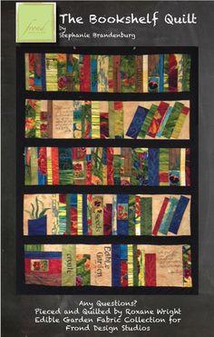 The Garden Journal Bookshelf Quilt - Frond Design Studios Quilting Projects, Quilting Designs, Quilting Ideas, Quilting Tutorials, Sewing Projects, Quilt Block Patterns, Quilt Blocks, Hanging Quilts, Bar Design
