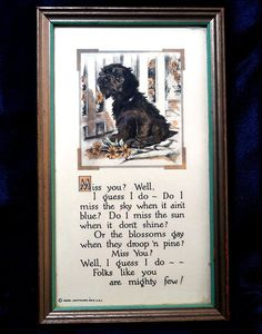 Buzza Motto Print Terrier Dog Miss You Poem in by CurioCabinet, $18.00