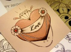 Tattoo Style Diamond Heart Valentine Card by VickiliciousDesigns