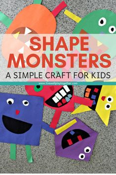 Monster Craft for Kids Shape Monsters are an easy way to teach shapes and colors to kids and make a great Halloween craft.Shape Monsters are an easy way to teach shapes and colors to kids and make a great Halloween craft. Monster Activities, Monster Crafts, Toddler Activities, Preschool Activities, Vocabulary Activities, Preschool Learning, Halloween Kunst, Halloween Crafts, Preschool Halloween
